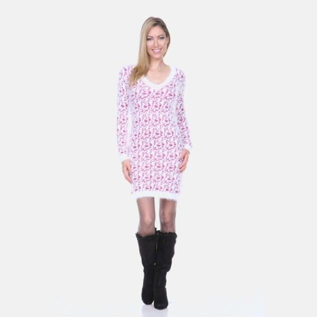 White Mark Fuchsia Leopard Sweater Dress