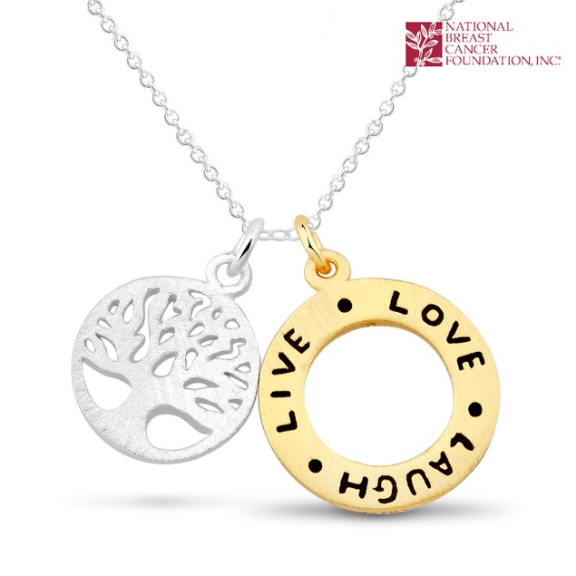 National Breast Cancer Foundation Inspirational Jewelry - Sterling Silver Live-Love-Laugh Pendant