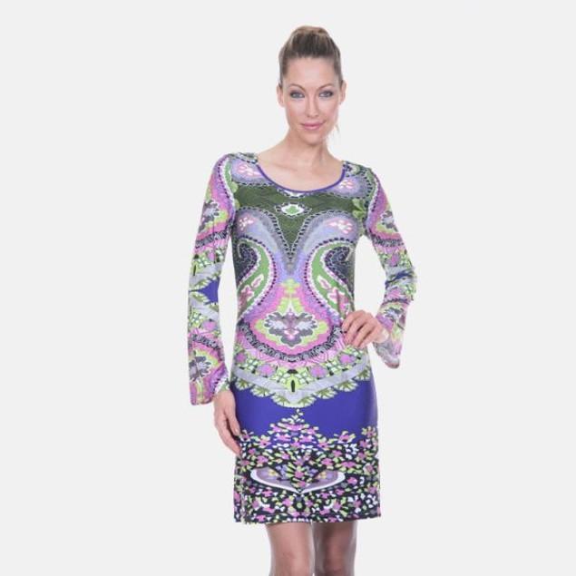 Abigail Royal Blue & Forest Green Print Dress