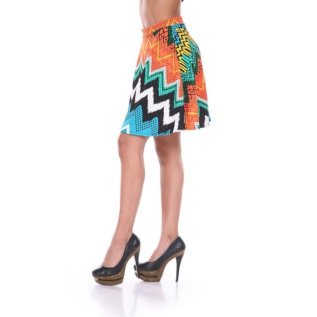 Orange & Blue Chevron Print Skater Skirt