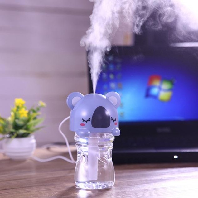 USB Mini Cartoon Bottle Cap Humidifier Office Air Diffuser Blue