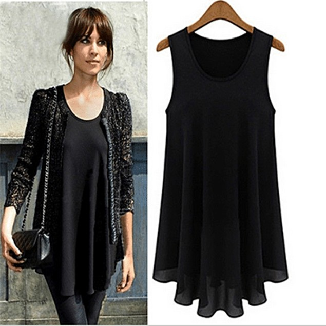 Black Sleeveless Chiffon Tunic Top